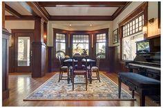 Craftsman Home Decor, Craftsman Style Interiors, Craftsman Living Rooms, Bungalow Interiors, Craftsman Interior, Modern Craftsman, Craftsman Style Homes, Craftsman Bungalows, Dark Wood Trim