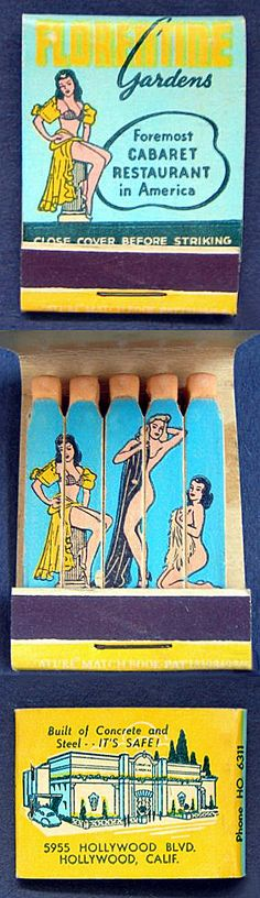 Vintage matchbook from Earl Carroll's 'FLORENTINE Gardens' nightclub in Hollywood