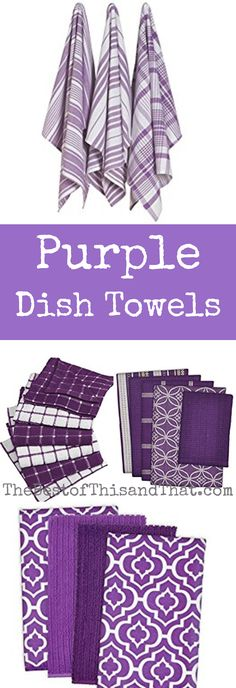 Purple dish towels and tea towels to accent your kitchen decor. Great way to add color or to give as a wedding shower gift for a purple wedding.