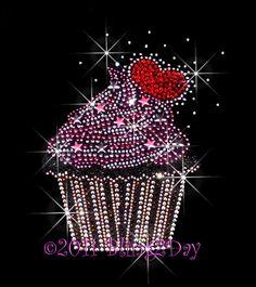 Hearts Stars Cupcake Iron on Rhinestone Transfer door BlingPlaza, $7.99