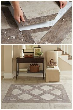 This beautiful Montagna Rustic Stone porcelain tile combines the warm, rustic look of wood with the classic appeal of stone. The texture and detail of this tile is simply amazing. You'll appreciate the easy care and durability of porcelain floor tile, too Floor Design, Tile Design, House Design, Home Renovation, Home Remodeling, Kitchen Renovations, Rustic Stone, Rustic Wood, Wood Look Tile