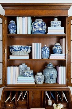 Bookcase Styling - Burled Walnut English Secretary Styled With Chinese Blue and White Pottery Mantel Styling, Bookshelf Styling, Desk Styling, Blue And White China, Love Blue, Blue China, China China, Decoration Bedroom, Room Decorations