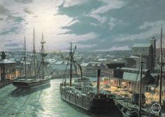 John Stobart - Cleveland: West River Street by Gaslight In 1873. Limited edition print from original the oil painting. Size: 14″ x 20″ Edition: 500 -- on ScrimshawGallery.com #JohnStobart #Stobart