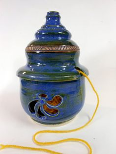 Blue Ceramic Lidded Yarn Jar by Uturn on Etsy, $45.00   #knittingbowl  #yarnbowl #LeslieHagen  #liddedyarnbowl