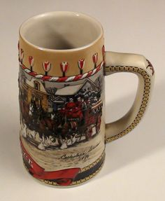 "1986 Budweiser HOLIDAY STEIN ""B"" Christmas Collectors Series"