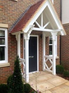 The English Porch Company produce beautiful bespoke and traditional wooden porches, porch kits, porch frames, oak framed porches and canopy porches in the UK. Porch Canopy, Door Canopy, Porch Swing, House With Porch, House Front, Front Porch, Porch Roof, Front Door Overhang, Porches