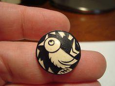 Antique vintage BUFFED CELLULOID BIRD button