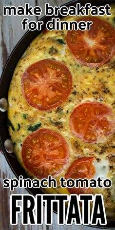 Try this easy and healthy spinach tomato frittata recipe. It combines delicious vegetables with eggs for a filling breakfast. This recipe is dairy free and paleo friendly and easy to make in your cast iron skillet. Egg Recipes For Breakfast, How To Make Breakfast, Breakfast For Dinner, Brunch Recipes, Breakfast Frittata, Dinner Recipes, Easy Healthy Recipes, Vegetarian Recipes, Healthy Meals