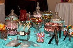 Multi-color Candy Bar. Yes this works, and you can buy blue and yellow ribbon to tie around the jars to incorporate colors!