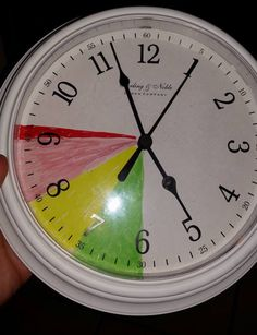 For kids who dilly dally Getting ready for school clock! Get finished getting ready in the green using a picture checklist get extra electronics time later. In the yellow get minimum electronics when come home, in the red no electronics for the day.
