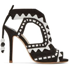 Sophia Webster Black and White Suede Riko Sandals (8.618.755 IDR) ❤ liked on Polyvore featuring shoes, sandals, cut out sandals, peep toe slingback, heels stilettos, peep toe shoes and black and white shoes