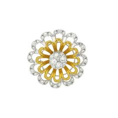 One Yellow & White Gold Flower Diamond Pendant