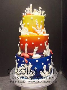 Beach Inspired Wedding Cake by Croissants Bistro & Bakery; Myrtle Beach, SC