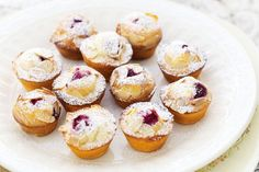 Mini Raspberry Friands by Taste. Topped with crunchy golden almonds, these baby-sized friands are ideal for any special celebration with friends. Cheesecakes, Friands Recipe, Just Pies, Fairy Bread, Mini Muffins, Donut Muffins, Donuts, Small Cake, Mini Desserts