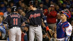 Cleveland Indians' Jose Ramirez (11) celebrates with Brandon Guyer after hitting a home run during the second inning of Game 5 of the Major League Baseball World Series Sunday, Oct. 30, 2016, in Chicago. Cubs won 3-2, forcing Game 6 back in Cleveland.