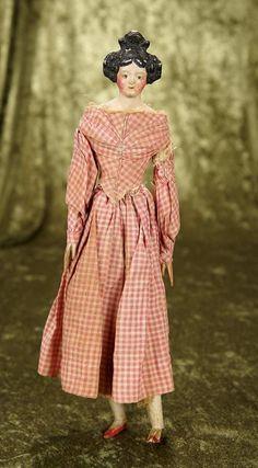 """German paper mache """"milliner's model"""" with beehive coiffure, original costume."""