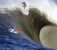 """Big wave surfing is a discipline within surfing where experienced surfers paddle into or are towed onto waves which are at least 20 feet m) high, on browse boards referred to as """"guns"""" or towboards. Sizes of the board had to effectively surf these. No Wave, Big Waves, Ocean Waves, Beach Boys, Big Wave Surfing, Soul Surfer, Surfer Dude, Surfing Photos, Surf City"""