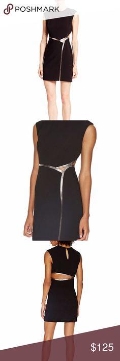 7b57f767ee8 HALSTON HERITAGE Black w  Metallic Trim Dress 12 HALSTON HERITAGE Black  with Metallic Faux Leather
