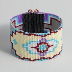 Beaded Boho Wide Cuff Bracelet Native American by PuebloAndCo
