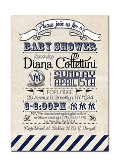 Yankees Baby Shower Invitation. Vintage Retro Baseball Baby Shower. Boy Girl. Baby Shower Invitation by digibuddhaPaperie, $18.00  http://www.etsy.com/listing/96356477/yankees-baby-shower-invitation-baseball