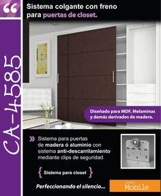 Sistema corredizo colgante con freno para puertas de closet de hasta 30 kg CA 4585, con sistema anti-descarrilamiento mediante clips de seguridad.