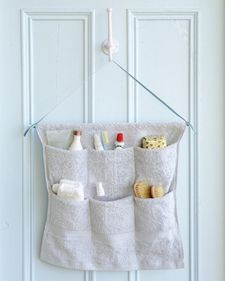 Clear off bathroom countertops by storing toiletries in a hanging organizer.