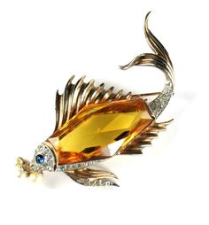"""Trifari sterling jewelry from the 1940's is typically beautiful and of the highest quality.  This wonderful """"fish"""" is a great example!"""