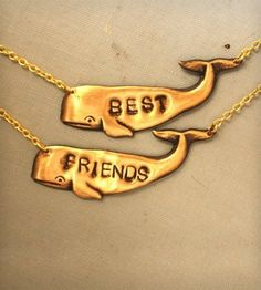 Brass Whale Best Friends Necklace - Set of 2 | A two necklace set for best pals. Brass whales with hand stamp... | Necklaces