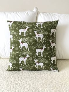 Reindeer Pillow Cover  Christmas Cover  by KathyRyanDesigns