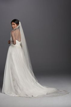 Scalloped Cathedral Veil with Beaded Scrollwork