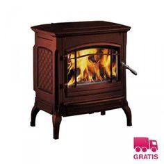 Estufa de leña Hergom Shelburne esmaltado marrón - Imaginedecó - Tienda online de decoración y hogar