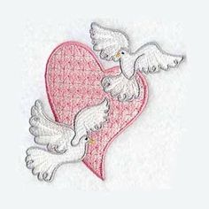 Doves and Heart Tea Towel Embroidered Towel by charlenesembroidery