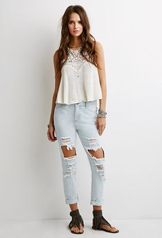 Distressed Cropped Jeans | Forever 21 | #springcollection