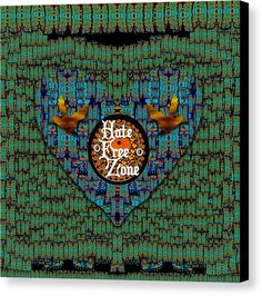 Birds Canvas Print featuring the mixed media Hate Free Zone by Pepita Selles