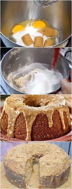 BOLO PAÇOCA COM COBERTURA CREMOSA, NÃO EXISTE OUTRO IGUAL!!! VEJA AQUI>>>Bolo: prepare a mistura DONA BENTA conforme indicado na embalagem. Asse utilizando forma  #receita#bolo#torta#doce#sobremesa#aniversario#pudim#mousse#pave#Cheesecake#chocolate#confeitaria Angle Food Cake Recipes, Tasty, Yummy Food, Cake Flavors, Love Cake, Vanilla Cake, Sweet Recipes, Bakery, Food Porn