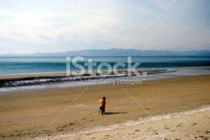 Child on Bike, Seascape Royalty Free Stock Photo