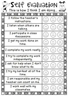 Corey Moore - February 2017 - It is very important for students to be able to reflect on their educational experience. This is an easy personal self evalution sheet for students. I would definitely use this in my classroom. Student Self Evaluation, Student Self Assessment, Formative Assessment, Evaluation Form, Relation D Aide, Student Led Conferences, Classroom Behavior Management, Behaviour Chart, Social Emotional Learning