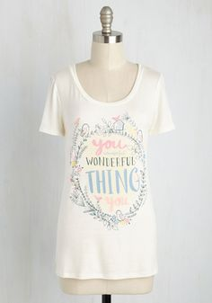 My Compliments to the Deft Top. Let the lovely people in your life know just how much you adore them by wearing this ivory tee at your next hangout! #cream #modcloth