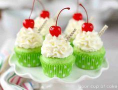 Shamrock Shake Cupcakes | Cute and Easy DIY Dessert Recipes for St. Patricks Day. http://diyready.com/21-seriously-delicious-green-desserts/
