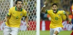 Fred and Neymar rejoicing after Fred scored against Spain in the final of the 2013 Confederations Cup.