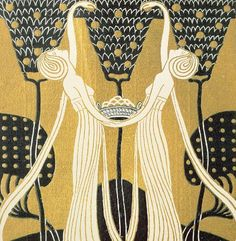 September Painting by Wilhelm List Tapestry Wallpaper, Pattern Wallpaper, Gold And Black Wallpaper, Decoration, Art Decor, Illustrations, Art Deco Design, Cool Artwork, Art Deco Fashion