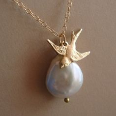 Bird Necklace in 14kt Gold Filled  Bridal Party Wedding by lizix26, $25.00