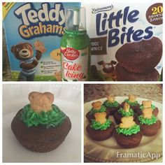 Groundhogs Day Treat: Brownie bites, Teddy Graham's, and green cake icing.