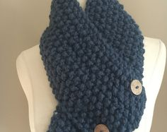 Knitted Cozy Bulky Dusty Blue Handmade Accessories Cowl Neck Warmer Ready To Ship