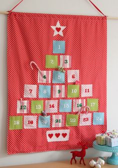 Quilt...White/silver trees back ground w/green polka dot tree and red polka…