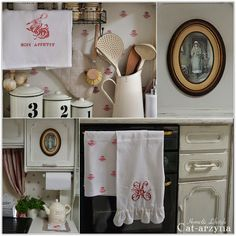 """Use rubber stamps to make matching kitchen """"wallpaper"""" and towels."""