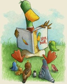 I must admit, I adore the notion of one bird reading aloud to other birds. (by Jackie Urbanovic I Love Books, Books To Read, My Books, Reading Art, Reading Stories, Reading Aloud, Book People, Animal Books, Book Nooks