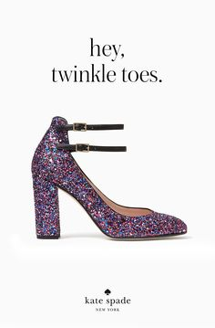 featuring a rounded toe, a covered, stacked heel and a couple of delicate ankle straps, these pretty-yet-practical shoes are perfect for the dance floor.
