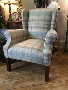 Sandersons Fire Side/Wing Back Chair In Finest Wool Check/Tartan Duck Egg Cream