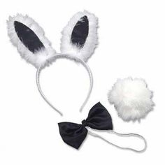 Three piece bunny dress up accessory set. Includes a bunny ears headband, bowtie and fluffy tail. Great for Halloween or a fancy dress party. Bachelorette Themes, Bachelorette Party Supplies, Baby Shower Party Supplies, Playboy Bunny Costume Halloween, Bunny Ears Headband, Black Bunny, Sexy Little Black Dresses, Bunny Party, Lingerie Party